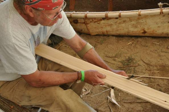 Preparing the cedar ribs and sheathing